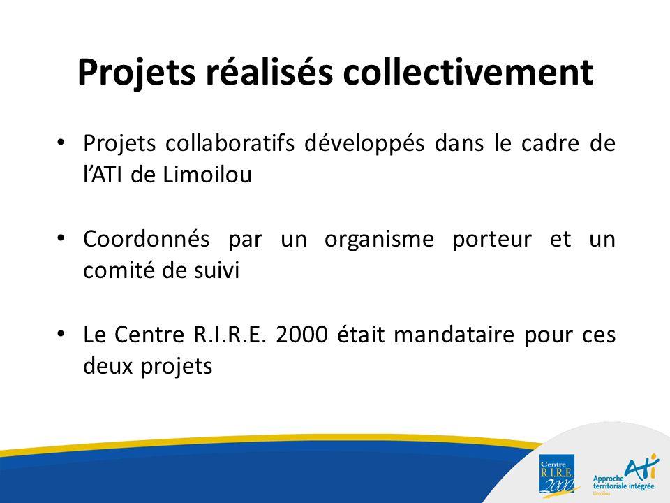 Projets réalisés collectivement Projets collaboratifs développés dans le cadre de lATI de Limoilou Coordonnés par un organisme porteur et un comité de suivi Le Centre R.I.R.E.