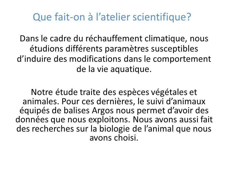Que fait-on à latelier scientifique? Dans le cadre du réchauffement climatique, nous étudions différents paramètres susceptibles dinduire des modifica