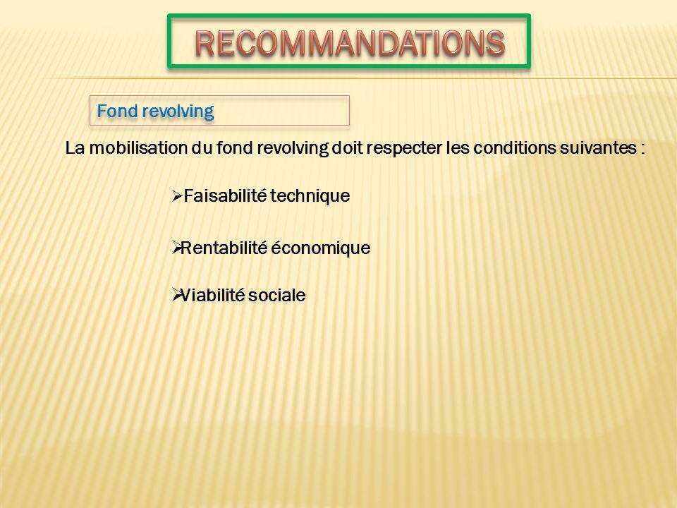 Fond revolving La mobilisation du fond revolving doit respecter les conditions suivantes : Faisabilité technique Rentabilité économique Viabilité soci