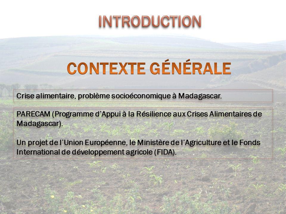Crise alimentaire, problème socioéconomique à Madagascar. PARECAM (Programme dAppui à la Résilience aux Crises Alimentaires de Madagascar). Un projet