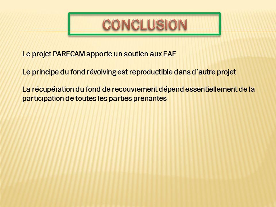 Le projet PARECAM apporte un soutien aux EAF Le principe du fond révolving est reproductible dans dautre projet La récupération du fond de recouvremen