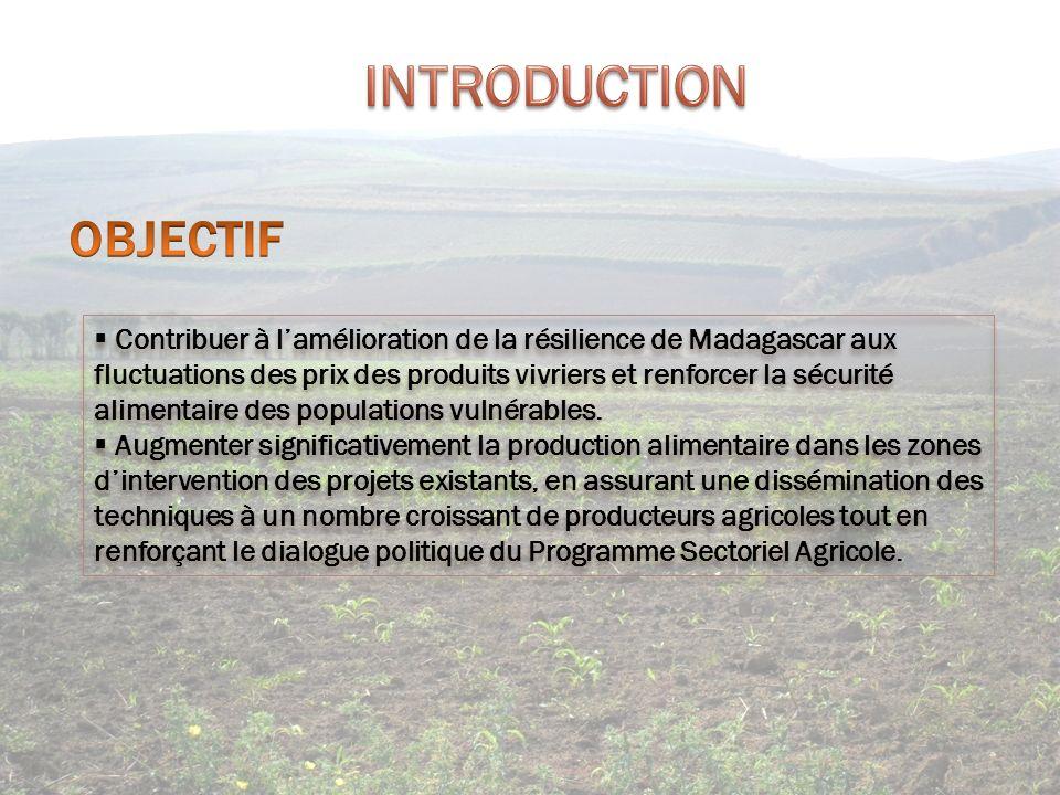 Contribuer à lamélioration de la résilience de Madagascar aux fluctuations des prix des produits vivriers et renforcer la sécurité alimentaire des pop