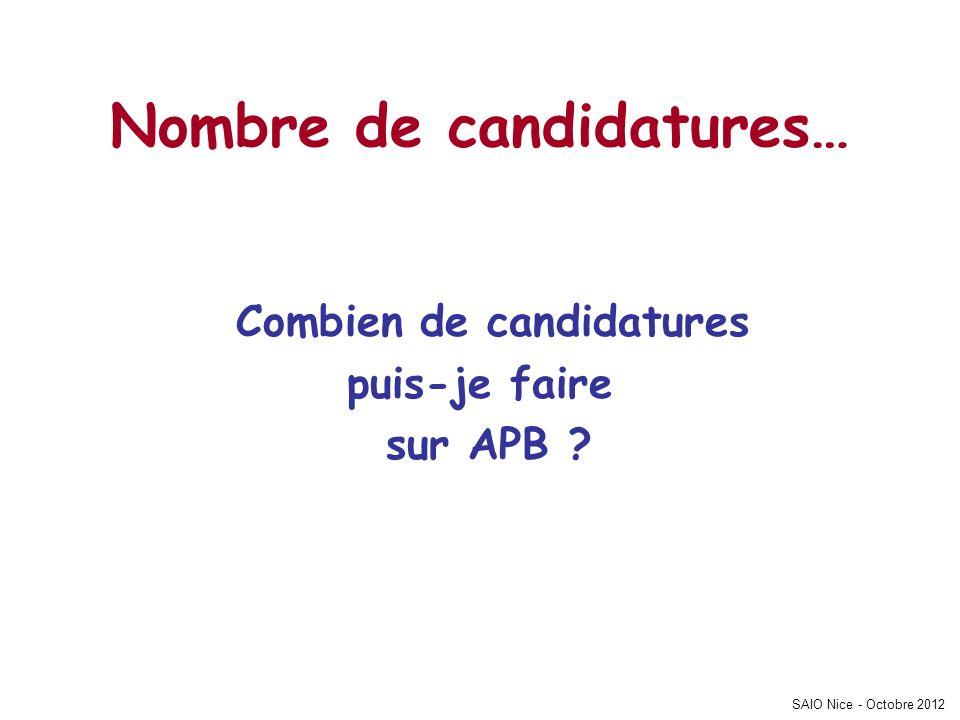 SAIO Nice - Octobre 2012 Nombre de candidatures… Combien de candidatures puis-je faire sur APB