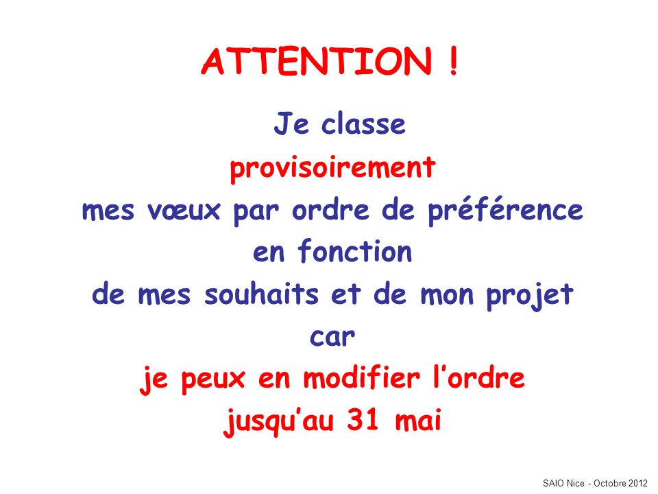SAIO Nice - Octobre 2012 ATTENTION .