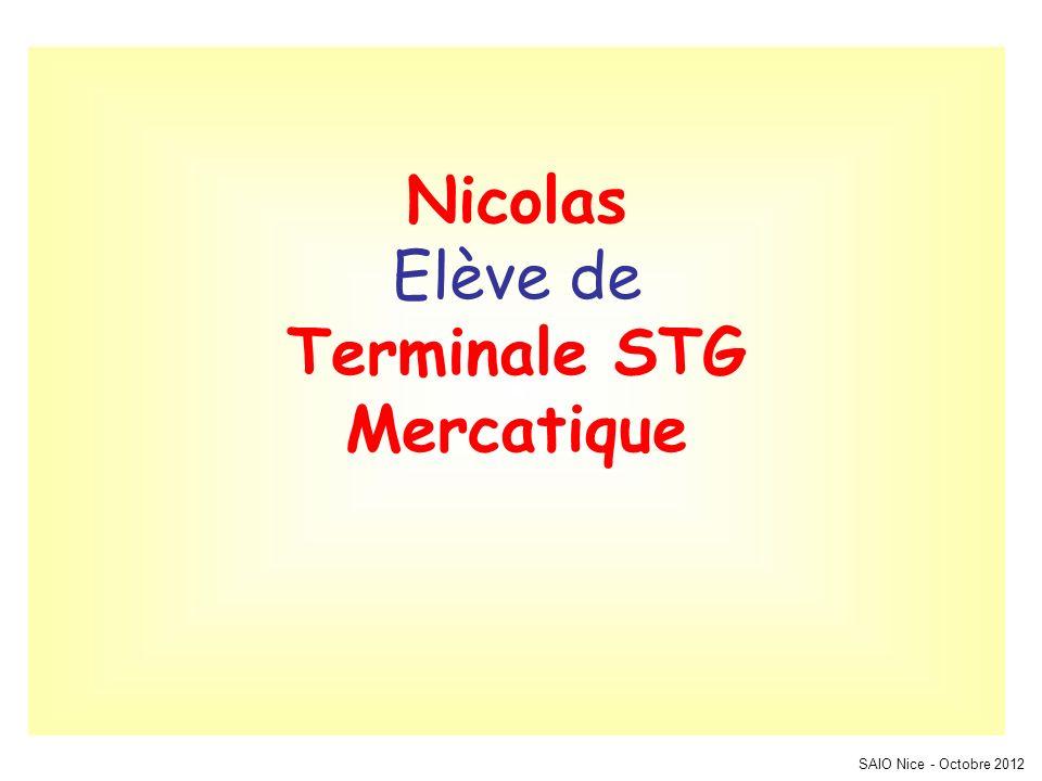 SAIO Nice - Octobre 2012 Nicolas Elève de Terminale STG Mercatique
