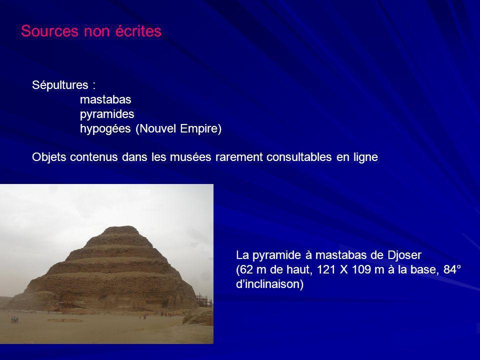 Sources non écrites Sépultures : mastabas pyramides hypogées (Nouvel Empire) Objets contenus dans les musées rarement consultables en ligne La pyramid
