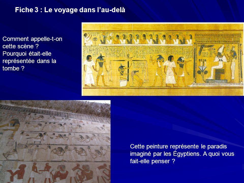 Fiche 3 : Le voyage dans lau-delà Comment appelle-t-on cette scène ? Pourquoi était-elle représentée dans la tombe ? Cette peinture représente le para