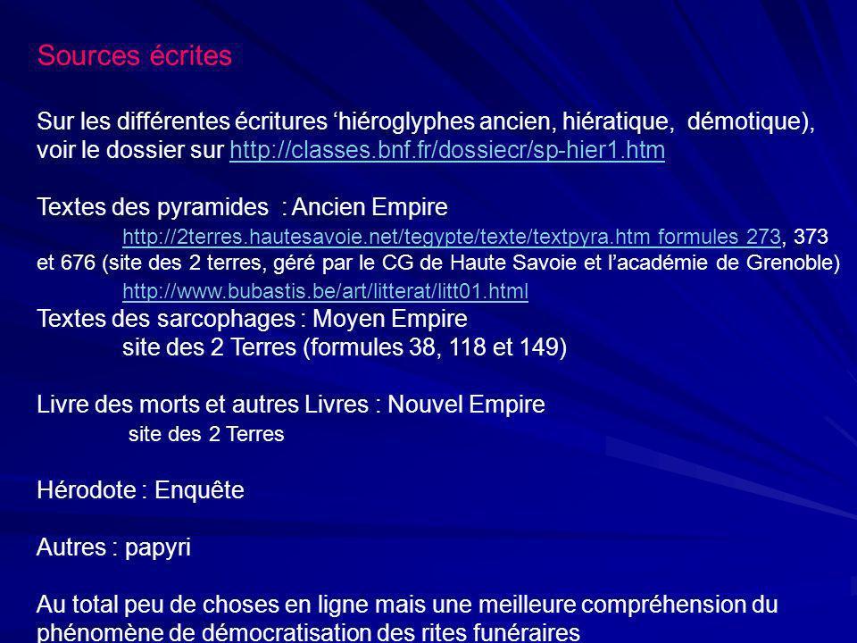 Sources écrites Sur les différentes écritures hiéroglyphes ancien, hiératique, démotique), voir le dossier sur http://classes.bnf.fr/dossiecr/sp-hier1