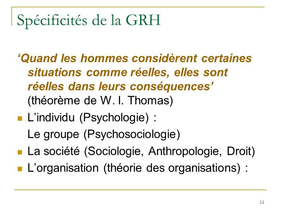 13 Spécificités de la GRH Quand les hommes considèrent certaines situations comme réelles, elles sont réelles dans leurs conséquences (théorème de W.