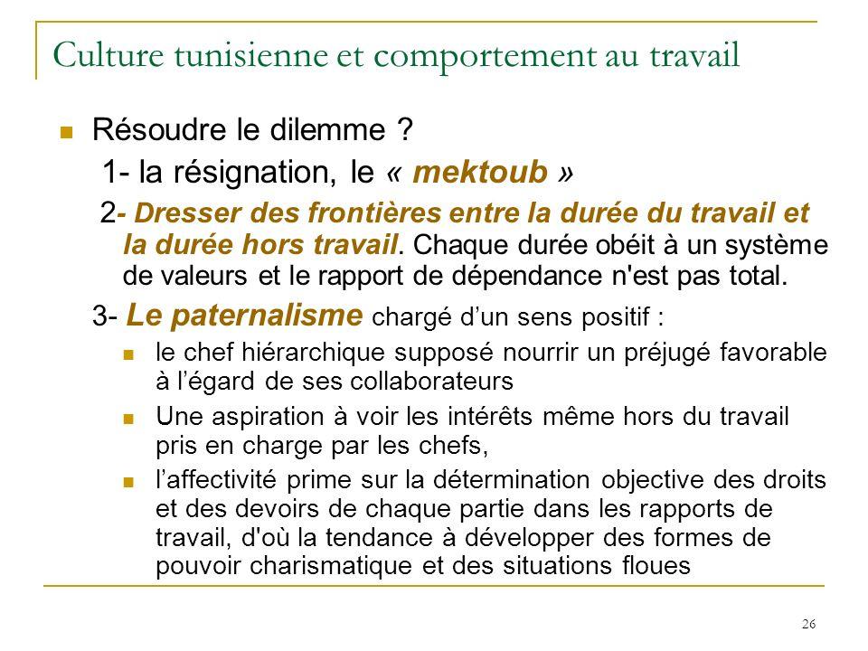 26 Culture tunisienne et comportement au travail Résoudre le dilemme ? 1- la résignation, le « mektoub » 2 - D resser des frontières entre la durée du
