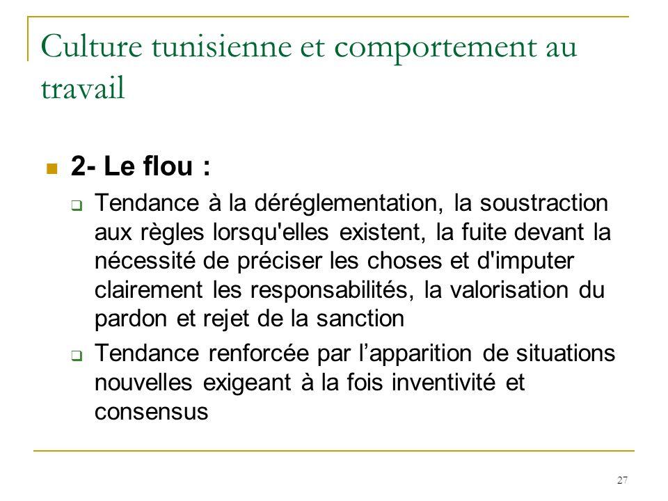 27 Culture tunisienne et comportement au travail 2- Le flou : Tendance à la déréglementation, la soustraction aux règles lorsqu'elles existent, la fui