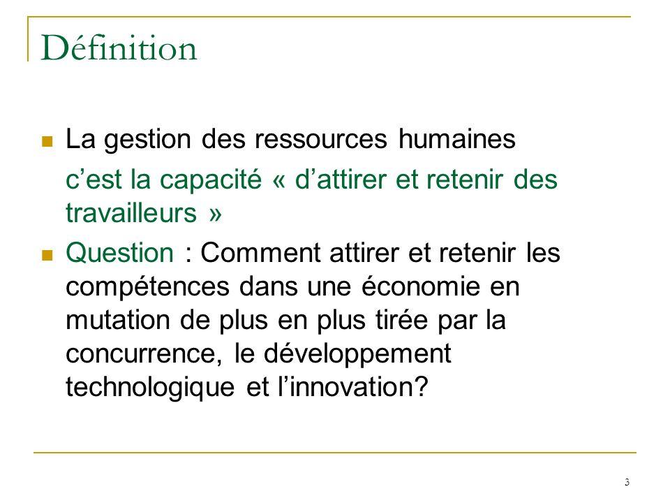 3 Définition La gestion des ressources humaines cest la capacité « dattirer et retenir des travailleurs » Question : Comment attirer et retenir les co