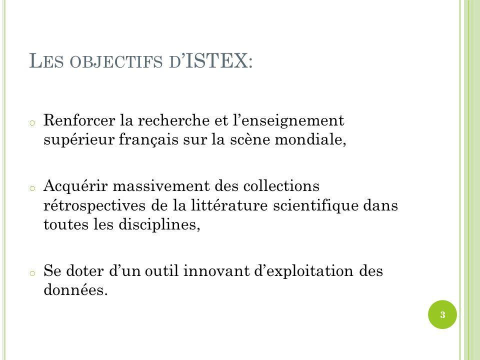 L ES OBJECTIFS D ISTEX: o Renforcer la recherche et lenseignement supérieur français sur la scène mondiale, o Acquérir massivement des collections rét