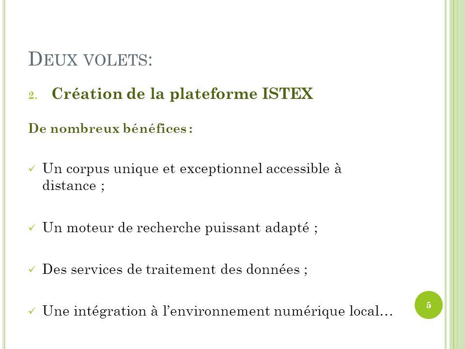 D EUX VOLETS : 2. Création de la plateforme ISTEX De nombreux bénéfices : Un corpus unique et exceptionnel accessible à distance ; Un moteur de recher