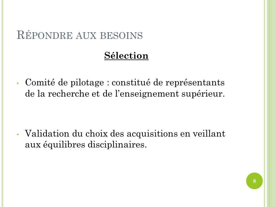 R ÉPONDRE AUX BESOINS Sélection Comité de pilotage : constitué de représentants de la recherche et de lenseignement supérieur. Validation du choix des