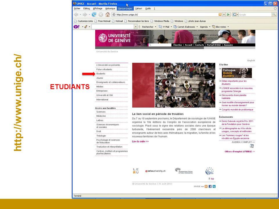 http://www.unige.ch/ ETUDIANTS