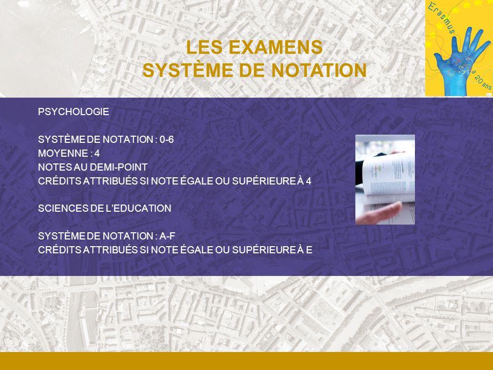 PSYCHOLOGIE SYSTÈME DE NOTATION : 0-6 MOYENNE : 4 NOTES AU DEMI-POINT CRÉDITS ATTRIBUÉS SI NOTE ÉGALE OU SUPÉRIEURE À 4 SCIENCES DE LEDUCATION SYSTÈME