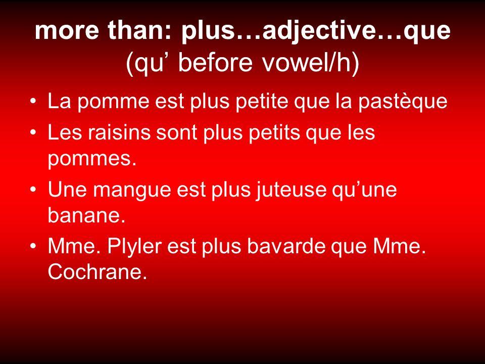 more than: plus…adjective…que (qu before vowel/h) La pomme est plus petite que la pastèque Les raisins sont plus petits que les pommes.