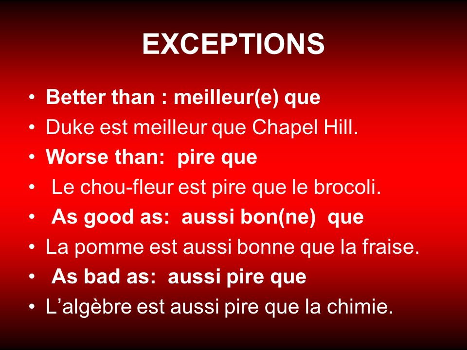 EXCEPTIONS Better than : meilleur(e) que Duke est meilleur que Chapel Hill.