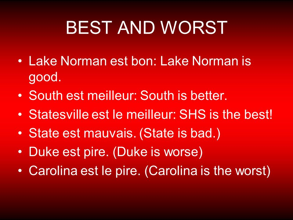 BEST AND WORST Lake Norman est bon: Lake Norman is good.