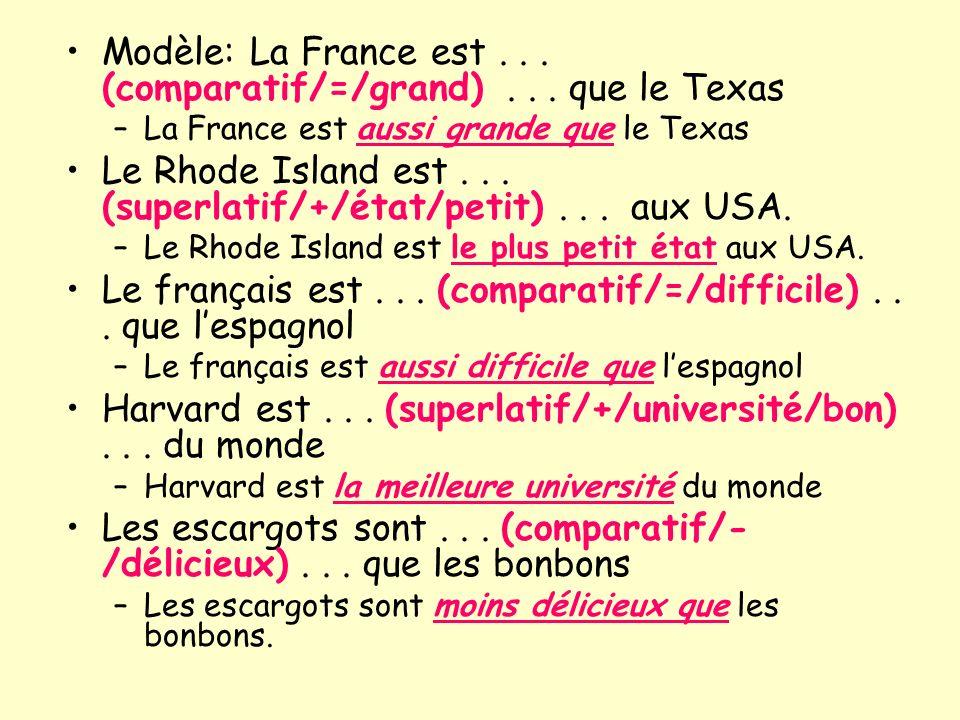 Modèle: La France est...(comparatif/=/grand)...