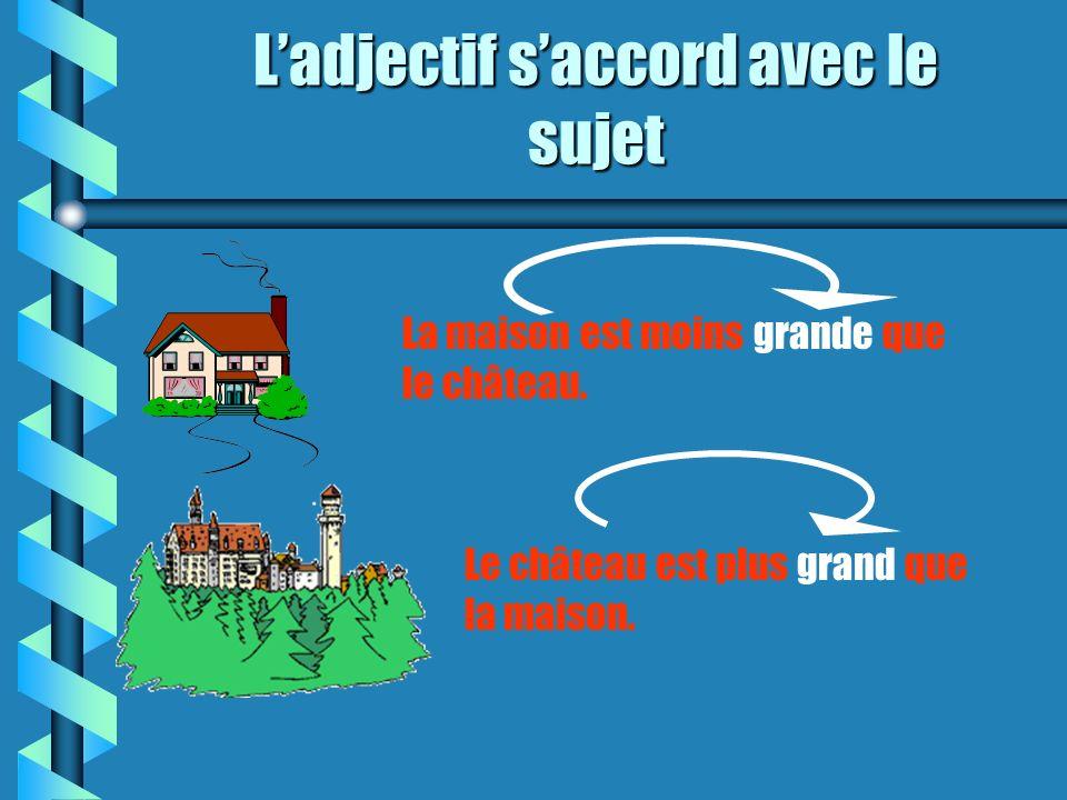 Comment choisir la forme de ladjectif . La maison est moins grande que le château.
