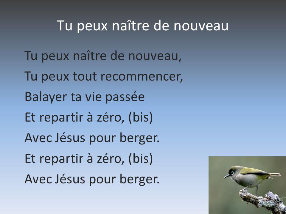 Tu peux naître de nouveau Tu peux naître de nouveau, Tu peux tout recommencer, Balayer ta vie passée Et repartir à zéro, (bis) Avec Jésus pour berger.