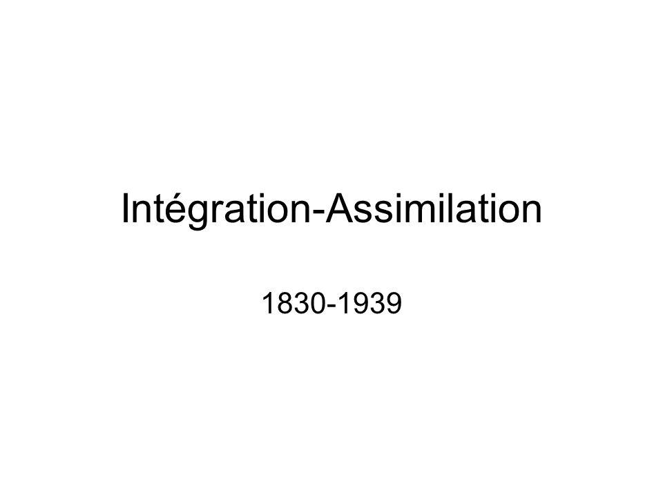 Intégration-Assimilation 1830-1939