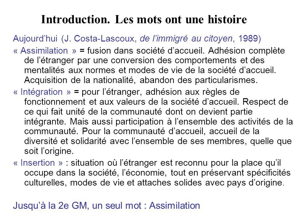 Introduction. Les mots ont une histoire Aujourdhui (J. Costa-Lascoux, de limmigré au citoyen, 1989) « Assimilation » = fusion dans société daccueil. A