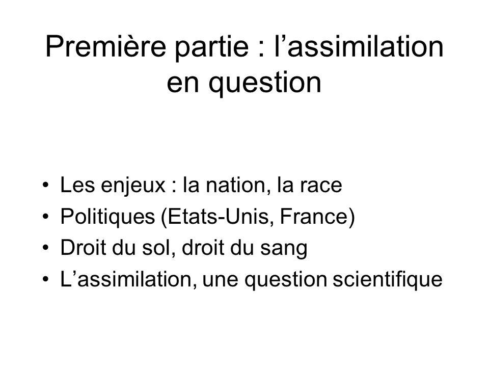 Première partie : lassimilation en question Les enjeux : la nation, la race Politiques (Etats-Unis, France) Droit du sol, droit du sang Lassimilation,