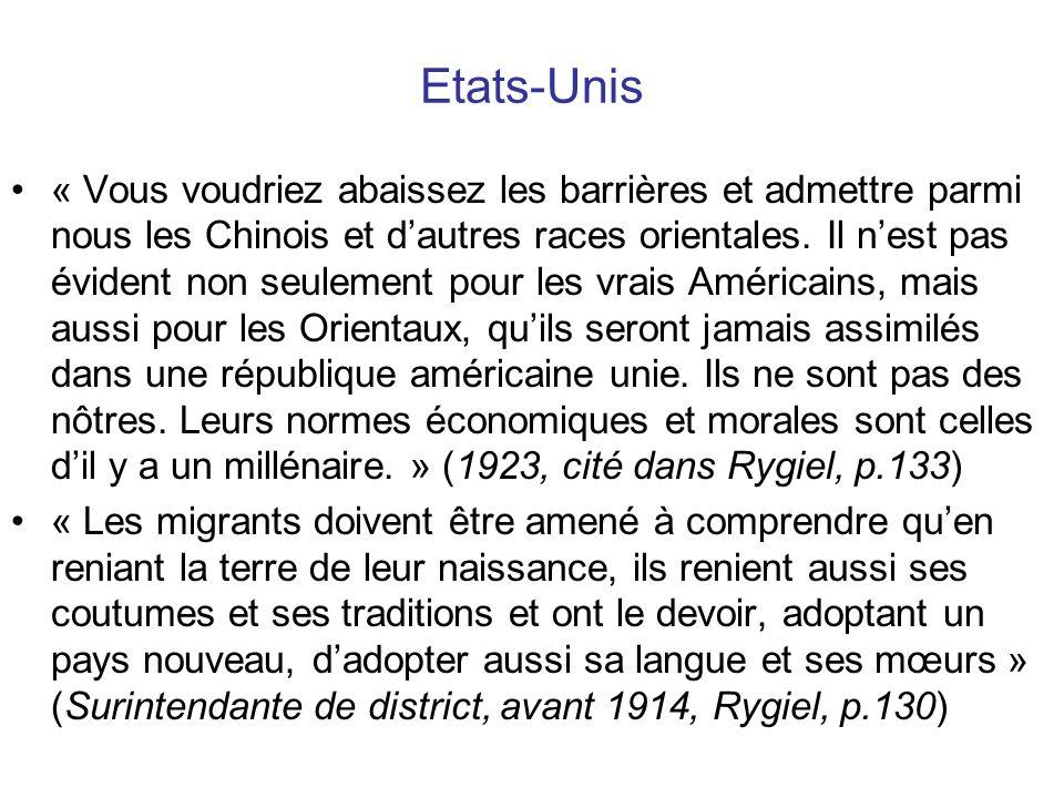 France, 1889 « Nous, Français, nous avons un intérêt considérable à faire disparaître les obstacles légaux qui empêchent labsorption de limmigration étrangère, de ceux qui vivent au milieu de nous sans avoir de véritable patrie (…).