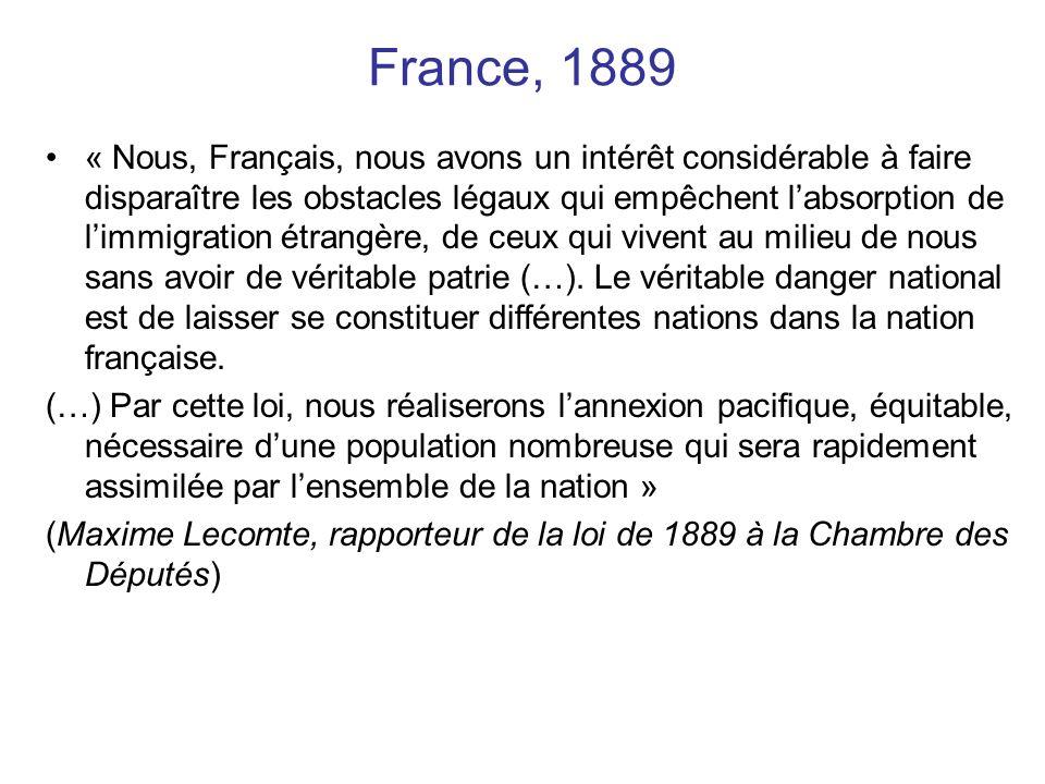 France, 1889 « Nous, Français, nous avons un intérêt considérable à faire disparaître les obstacles légaux qui empêchent labsorption de limmigration é