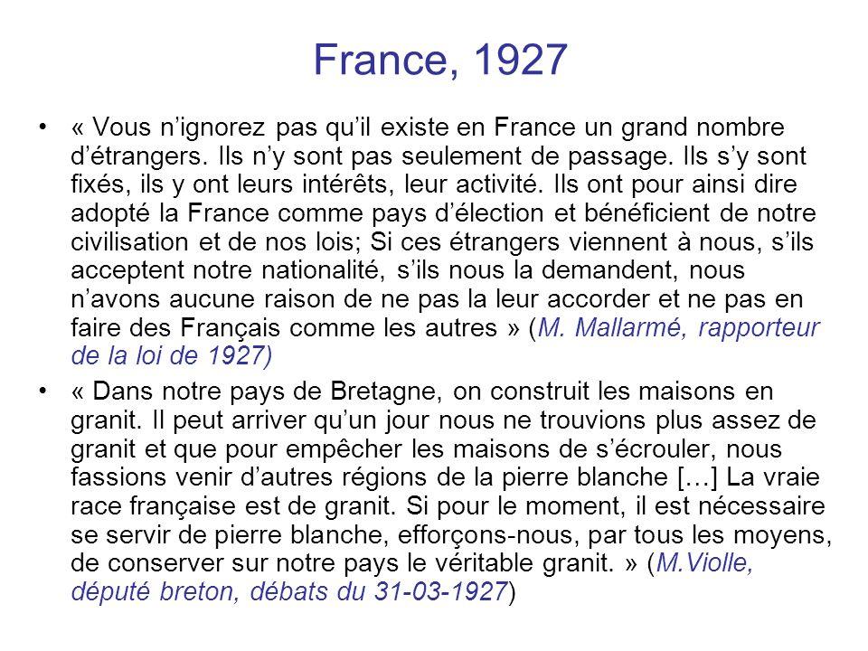 France, 1927 « Vous nignorez pas quil existe en France un grand nombre détrangers. Ils ny sont pas seulement de passage. Ils sy sont fixés, ils y ont