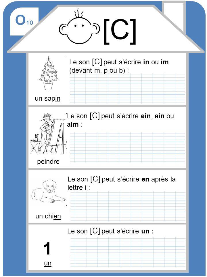 O 10 [C] Le son [C] peut sécrire in ou im (devant m, p ou b) : un sapin Le son [C] peut sécrire ein, ain ou aim : Le son [C] peut sécrire un : peindre