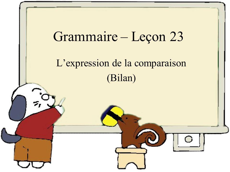 Lexpression de la comparaison Vous disposez en français de nombreux outils linguistiques qui servent à établir des comparaisons entre des personnes, des objets, des faits.