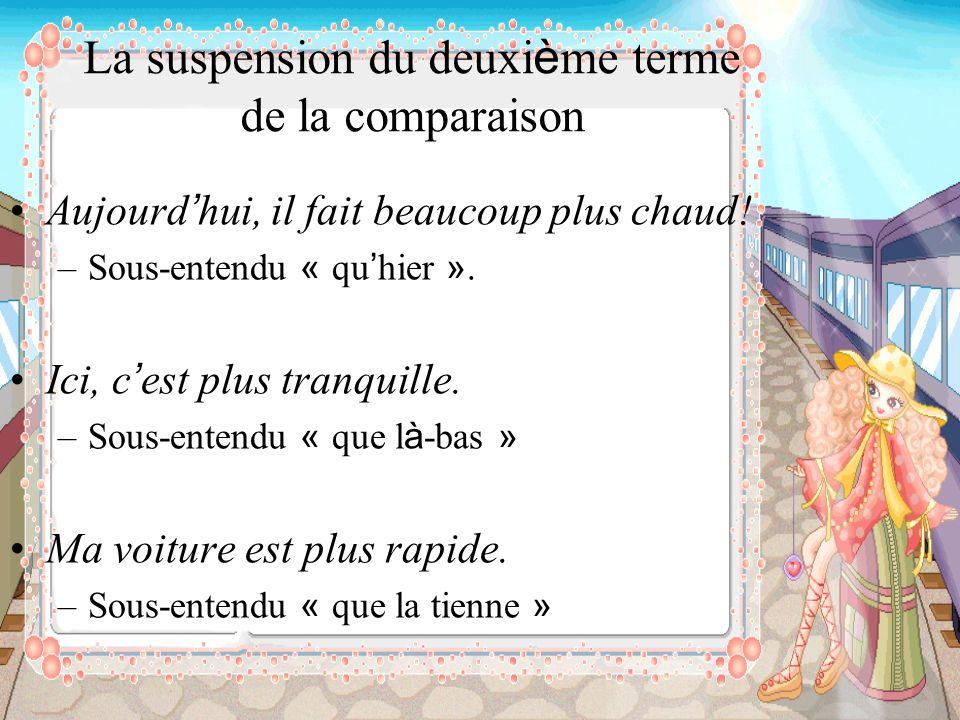 La suspension du deuxi è me terme de la comparaison Aujourd hui, il fait beaucoup plus chaud! –Sous-entendu « qu hier ». Ici, c est plus tranquille. –