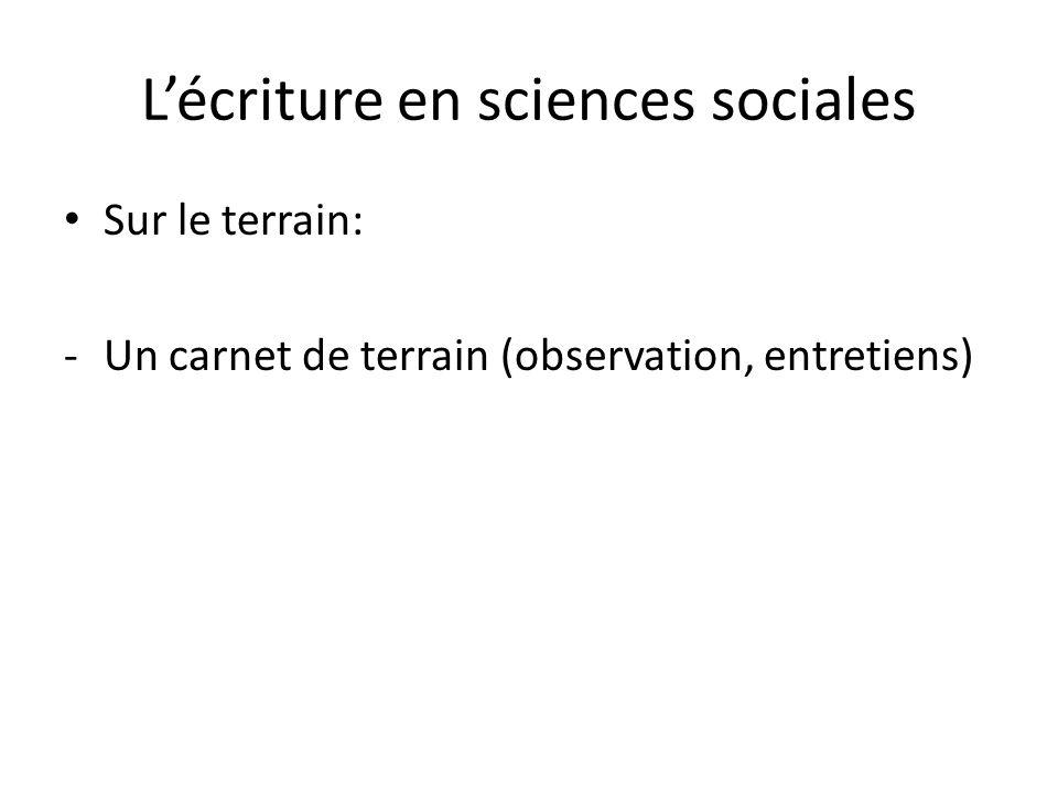 Lécriture en sciences sociales Sur le terrain: -Un carnet de terrain (observation, entretiens)