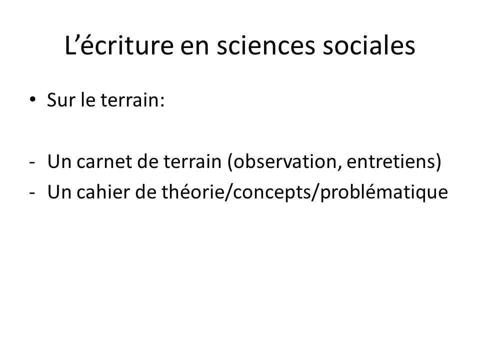 Lécriture en sciences sociales Sur le terrain: -Un carnet de terrain (observation, entretiens) -Un cahier de théorie/concepts/problématique