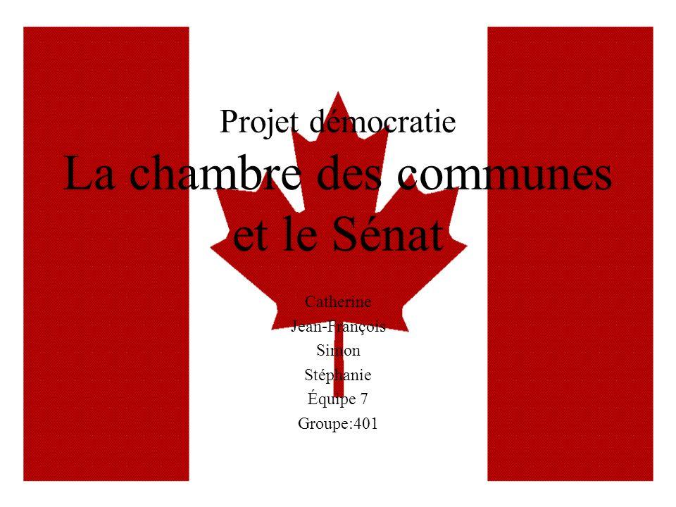 Projet démocratie La chambre des communes et le Sénat Catherine Jean-François Simon Stéphanie Équipe 7 Groupe:401