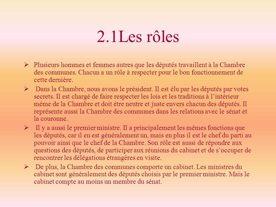 2.1Les rôles Plusieurs hommes et femmes autres que les députés travaillent à la Chambre des communes. Chacun a un rôle à respecter pour le bon fonctio