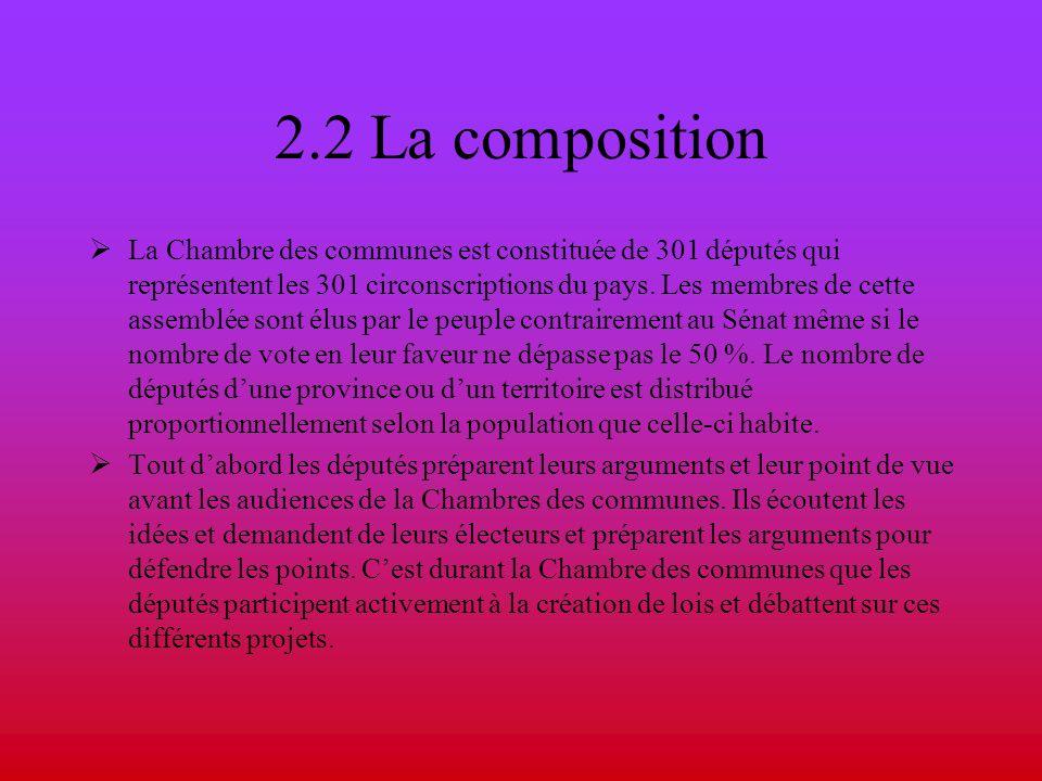 2.2 La composition La Chambre des communes est constituée de 301 députés qui représentent les 301 circonscriptions du pays. Les membres de cette assem