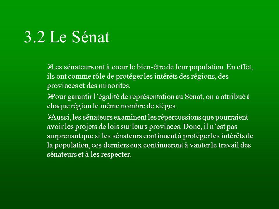 3.2 Le Sénat Les sénateurs ont à cœur le bien-être de leur population. En effet, ils ont comme rôle de protéger les intérêts des régions, des province