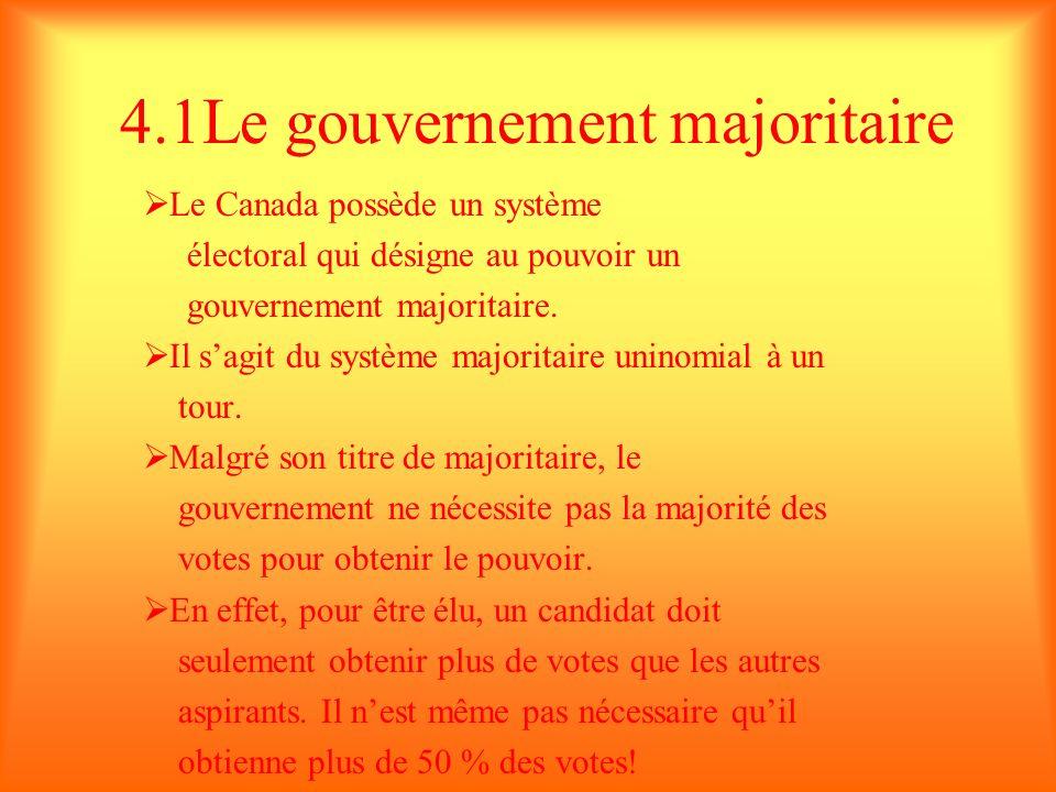 4.1Le gouvernement majoritaire Le Canada possède un système électoral qui désigne au pouvoir un gouvernement majoritaire. Il sagit du système majorita