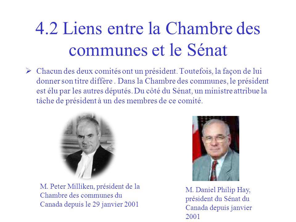 4.2 Liens entre la Chambre des communes et le Sénat Chacun des deux comités ont un président. Toutefois, la façon de lui donner son titre diffère. Dan