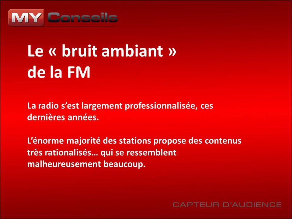 Le « bruit ambiant » de la FM La radio sest largement professionnalisée, ces dernières années. Lénorme majorité des stations propose des contenus très