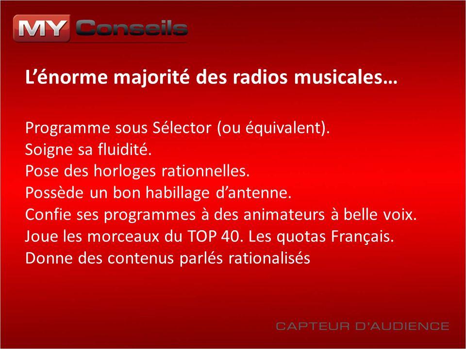 Lénorme majorité des radios musicales… Programme sous Sélector (ou équivalent). Soigne sa fluidité. Pose des horloges rationnelles. Possède un bon hab