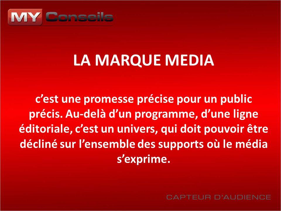 LA MARQUE MEDIA cest une promesse précise pour un public précis. Au-delà dun programme, dune ligne éditoriale, cest un univers, qui doit pouvoir être
