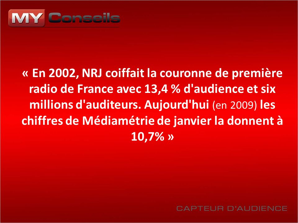 « En 2002, NRJ coiffait la couronne de première radio de France avec 13,4 % d'audience et six millions d'auditeurs. Aujourd'hui (en 2009) les chiffres
