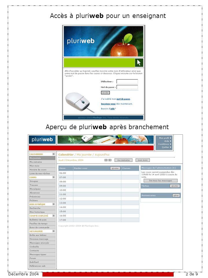 Décembre 20042 de 9 Accès à pluriweb pour un enseignant Aperçu de pluriweb après branchement