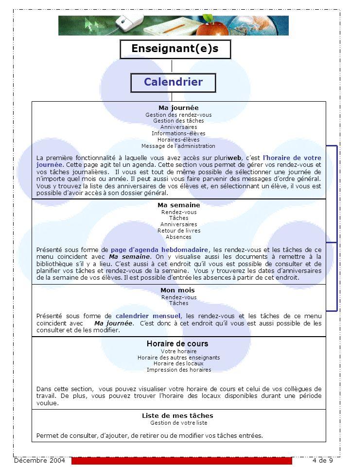 Décembre 20044 de 9 Calendrier Ma journée Gestion des rendez-vous Gestion des tâches Anniversaires Informations-élèves Horaires-élèves Message de ladministration La première fonctionnalité à laquelle vous avez accès sur pluriweb, cest lhoraire de votre journée.